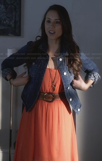 spencers-orange-high-low-dress-denim-jacket-horse